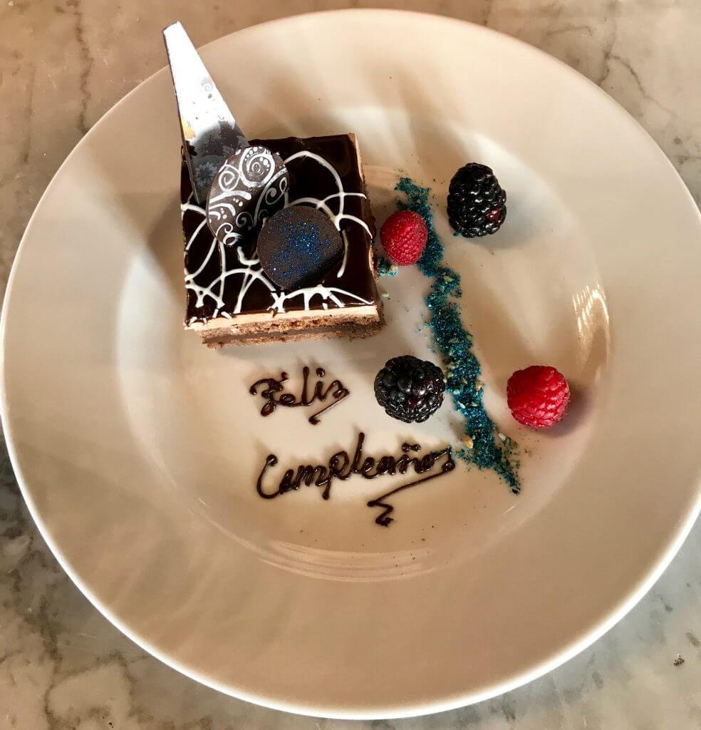 chocolate birthday cake at the westin cozumel