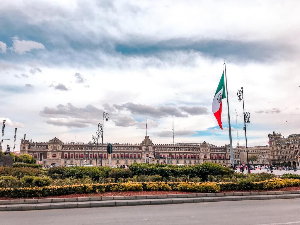 The palacio nacional borders Mexico City's zocalo