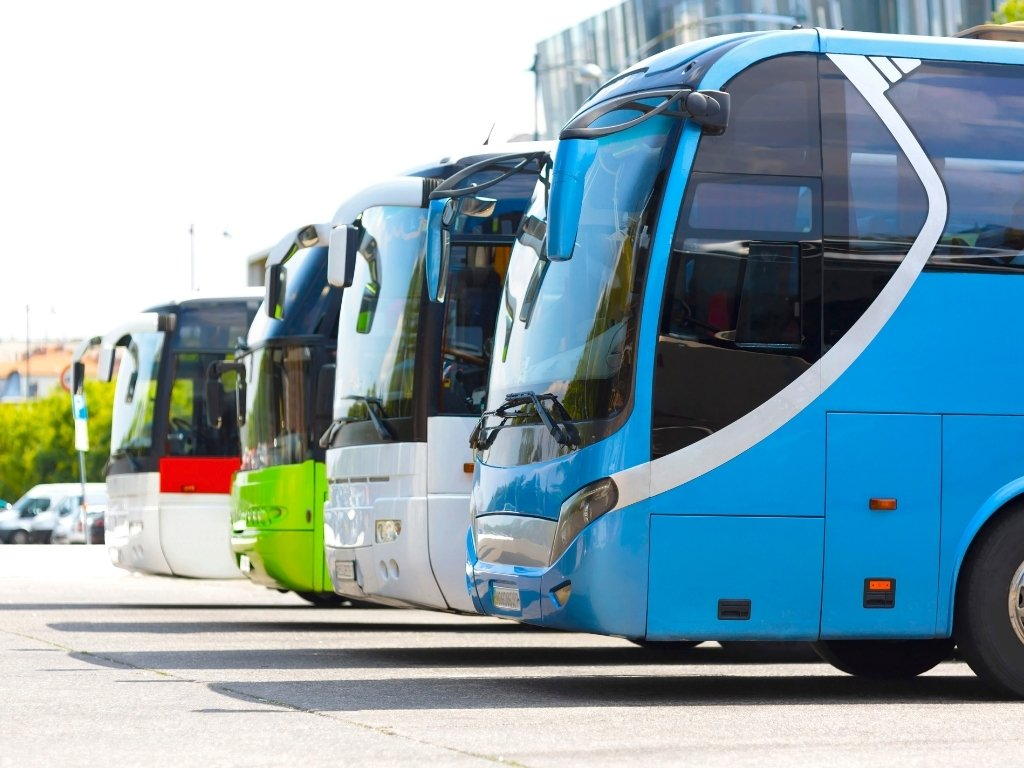 buses at bus station in Mexico