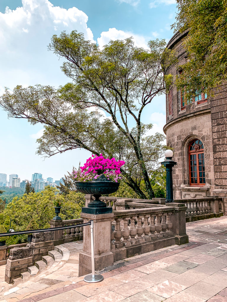 Chapultepec Castle sits on a hill overlooking downtown Mexico City