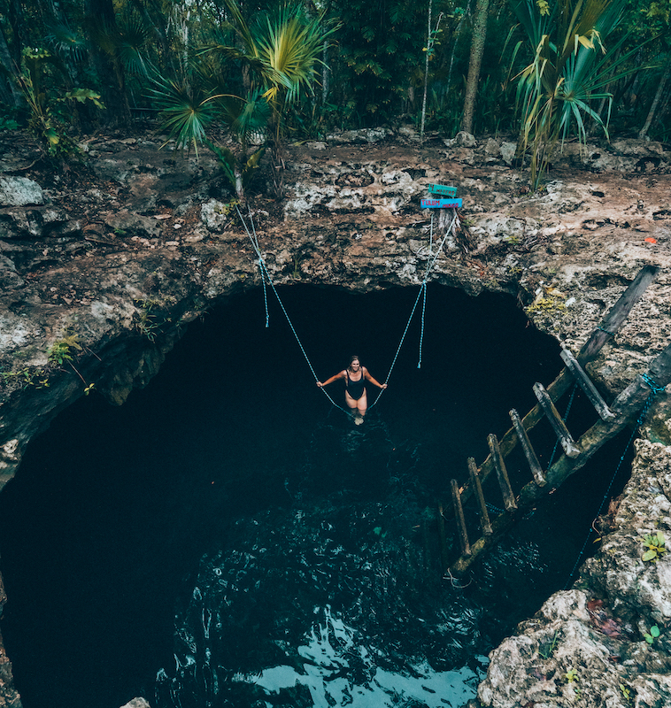 Cenote Calavera is a refreshing spot to swim near Tulum.