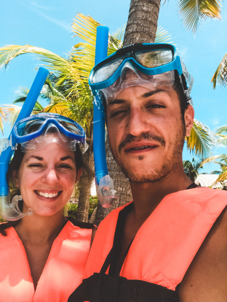 getting ready to snorkel with turtles in Akumal, Mexico