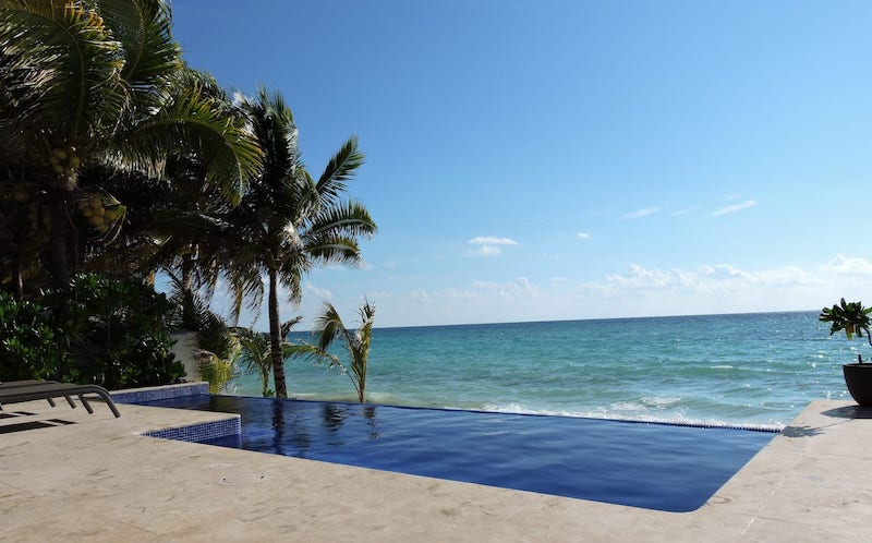 oceanfront villa with infinity pool in Playa del Carmen, Mexico