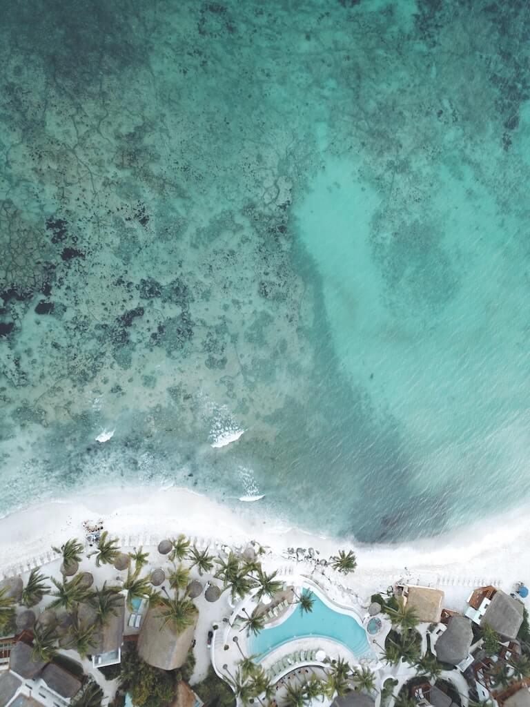 riviera maya beachfront accommodation aerial view