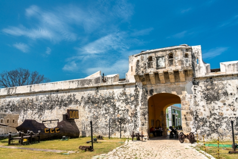 fortress walls of Campeche, Mexico