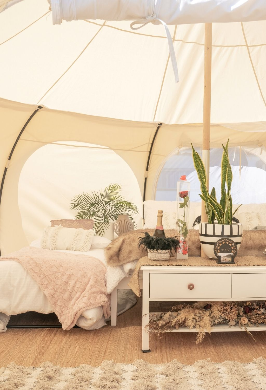 Staying in a beautiful glamping tent is a fun way to experience Valle de Guadalupe, Baja