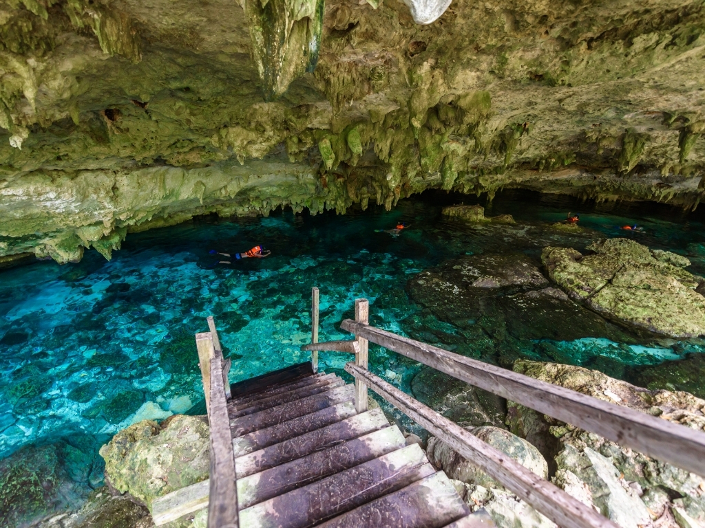 the dos ojos cenotes are partially covered by overhanging rocks